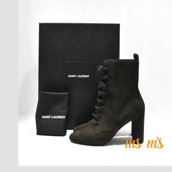 d43c07bf NIB Saint Laurent YSL Olive Green Suede Boot $995 NWT
